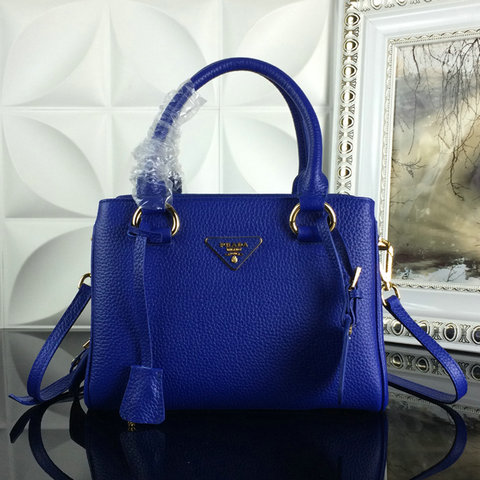2015 A/W Prada Grainy Leather Tote BN2963 in Blue