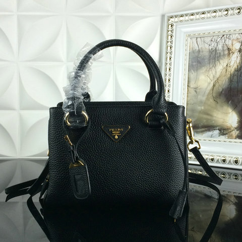 2015 A/W Prada Grainy Leather Tote BN2963 in Black