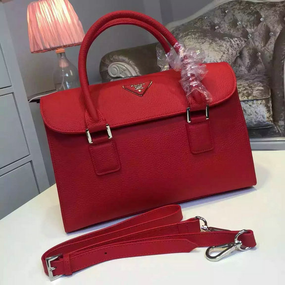 2015 Fall/Winter Prada Grainy Calf Leather Tote 2628 in Red