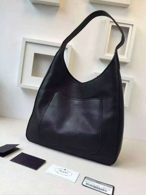 2015 Autumn/Winter Prada Calf Leather Hobo Bag 1BC013 in Black