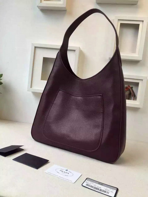 2015 Autumn/Winter Prada Calf Leather Hobo Bag 1BC013 in Burgundy