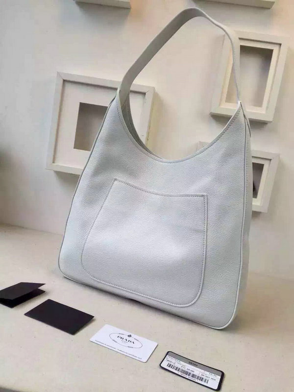 2015 Autumn/Winter Prada Calf Leather Hobo Bag 1BC013 in White