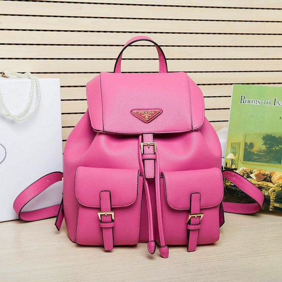 2015 Cheap Prada Grained Leather Backpack in Peony Pink
