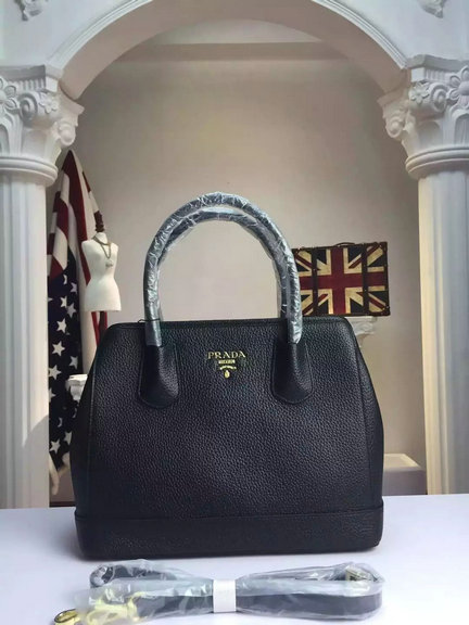 2015 A/W Prada Grained Calf Leather Top Handle Bag in Black