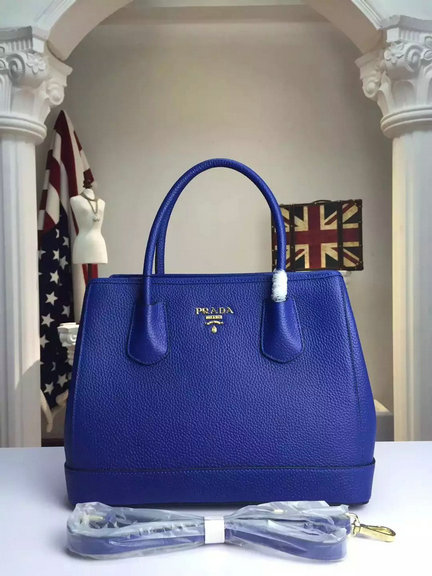 2015 A/W Prada Grained Calf Leather Top Handle Bag in Blue