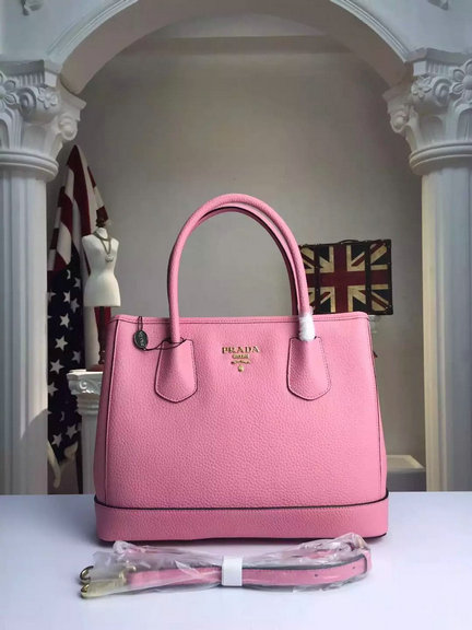 2015 A/W Prada Grained Calf Leather Top Handle Bag in Pink