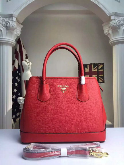 2015 A/W Prada Grained Calf Leather Top Handle Bag in Red