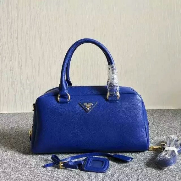 2015 Cheap Prada Grainy Calf Leather Top Handle Bag Blue