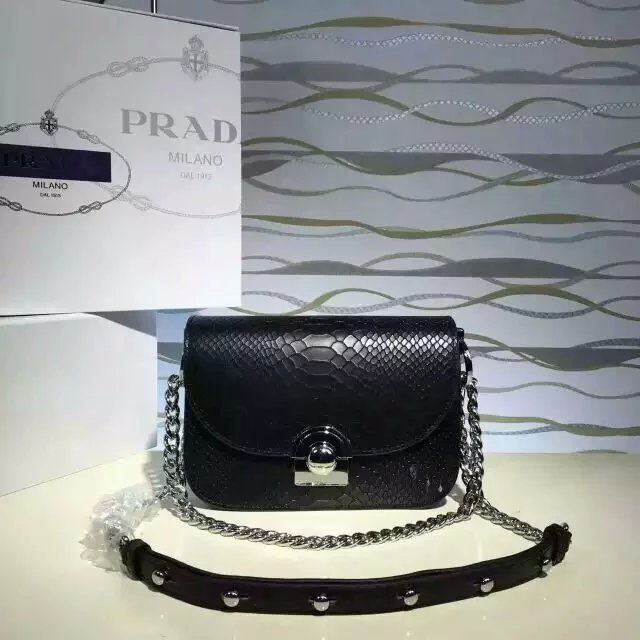 2016 New Prada Arcade Shoulder Bag in Black Snake Leather