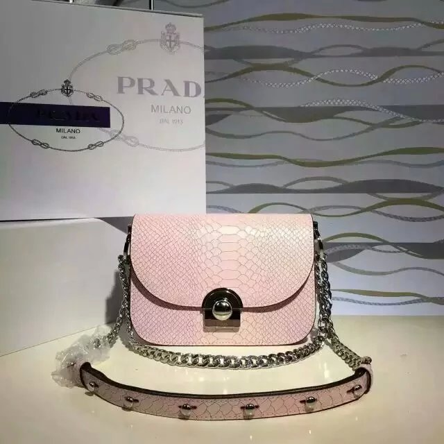 2016 New Prada Arcade Shoulder Bag in Pink Snake Leather