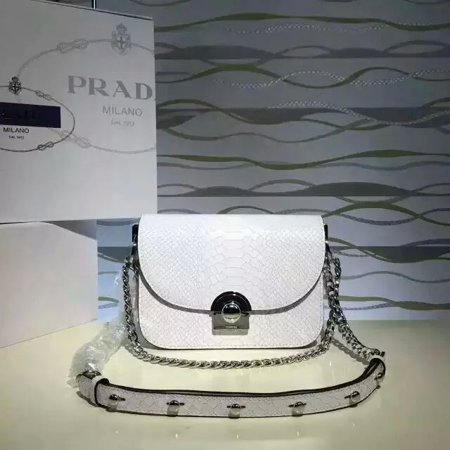 2016 New Prada Arcade Shoulder Bag in White Snake Leather