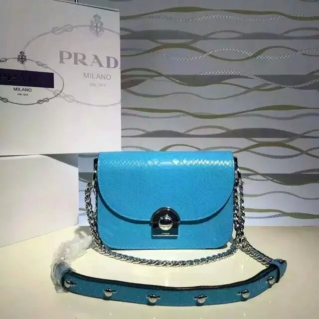 2016 New Prada Arcade Shoulder Bag in Blue Snake Leather