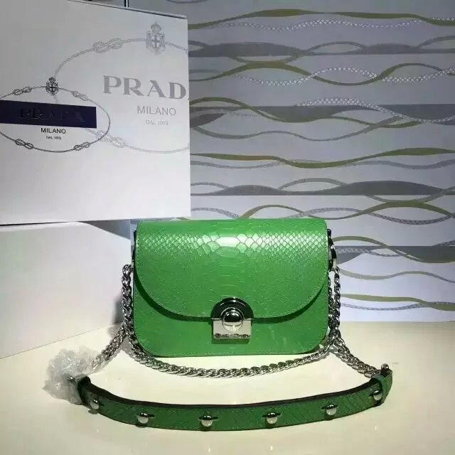 2016 New Prada Arcade Shoulder Bag in Green Snake Leather