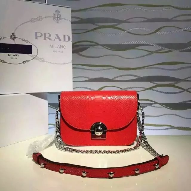 2016 New Prada Arcade Shoulder Bag in Red Snake Leather