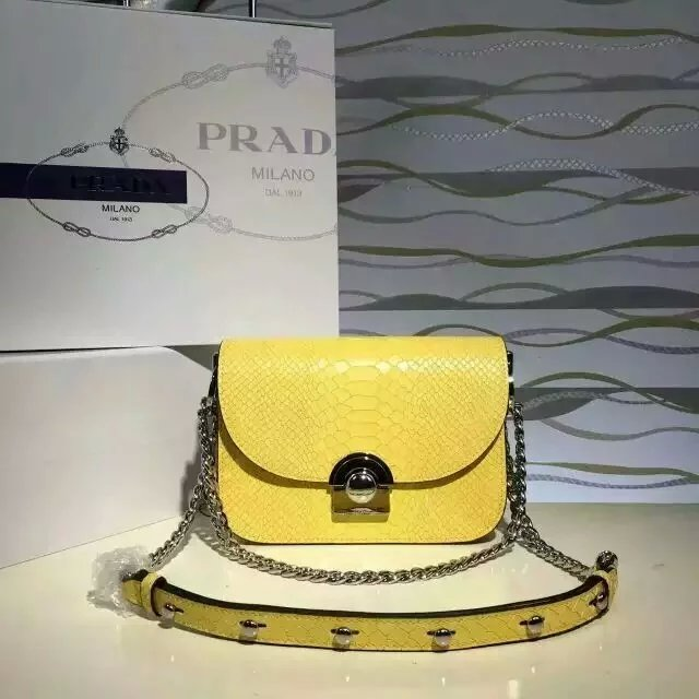 2016 New Prada Arcade Shoulder Bag in Yellow Snake Leather