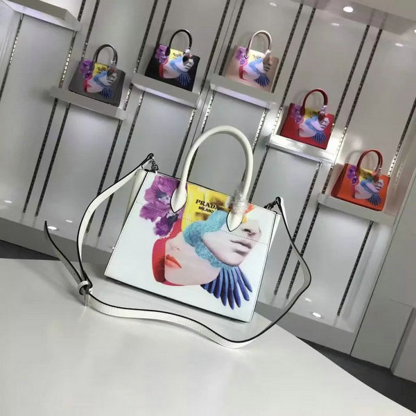 2016 A/W Prada Collage-Print Bibliothèque Leather Bag with bellow sides