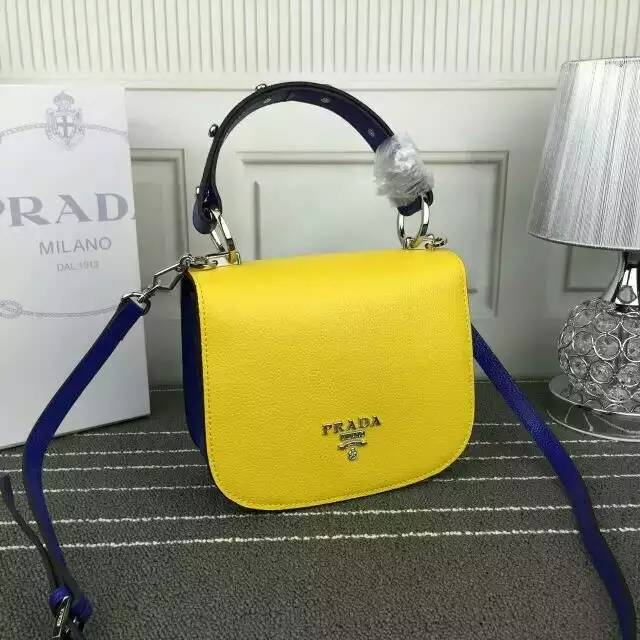 2016 Fall/Winter Prada Bicolor Pionnière Shoulder Bag in Yellow/Blue Grain leather