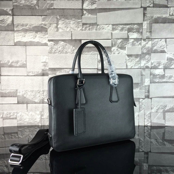 2016 Mens Prada Grained Calf Leather Briefcase 2VE363 in Black