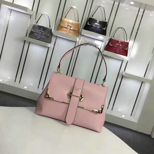 2016 A/W Prada Cahier Calfskin Leather Bag 1BA088 in Pink