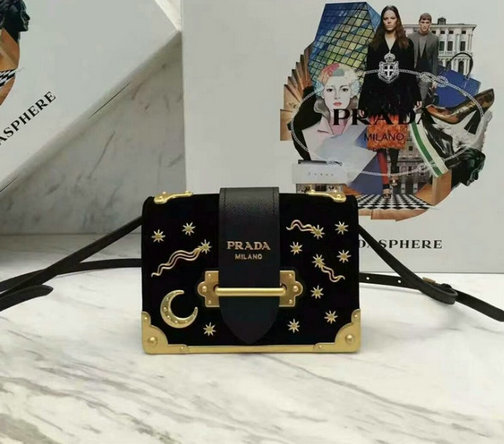 2016 A/W Prada Cahier Velvet Bag Black with star and moon adornments