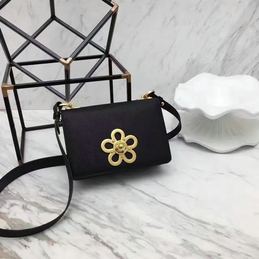 2017 Spring Prada Corolle Flower Saffiano Leather Shoulder Bag in Black