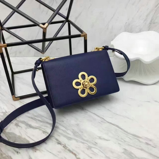 2017 Spring Prada Corolle Flower Saffiano Leather Shoulder Bag in Blue