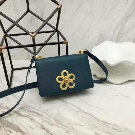2017 Spring Prada Corolle Flower Saffiano Leather Shoulder Bag in Dark Green