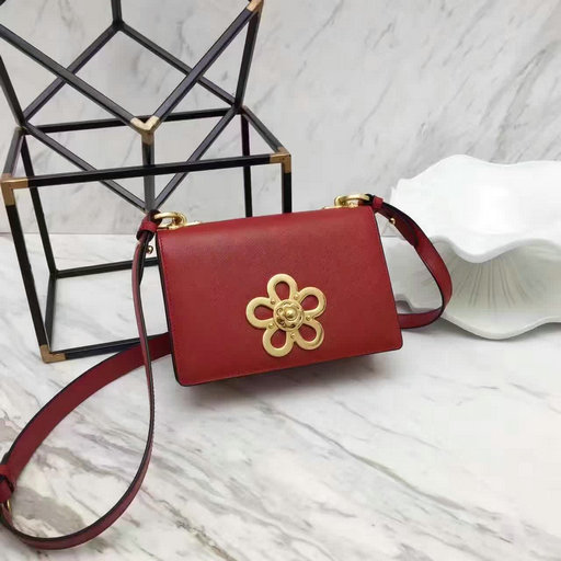 2017 Spring Prada Corolle Flower Saffiano Leather Shoulder Bag in Red