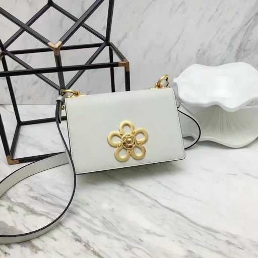 2017 Spring Prada Corolle Flower Saffiano Leather Shoulder Bag in White
