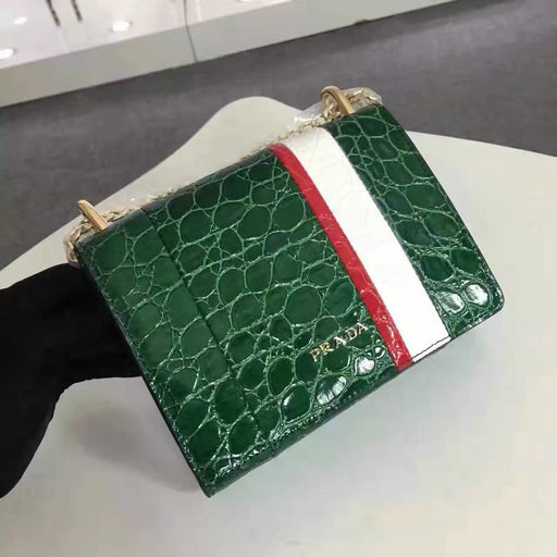2016 A/W Prada Crocodile Leather Shoulder Bag 1BH007 in Green/White/Red