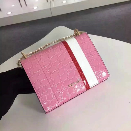 2016 A/W Prada Crocodile Leather Shoulder Bag 1BH007 in Pink/White/Red