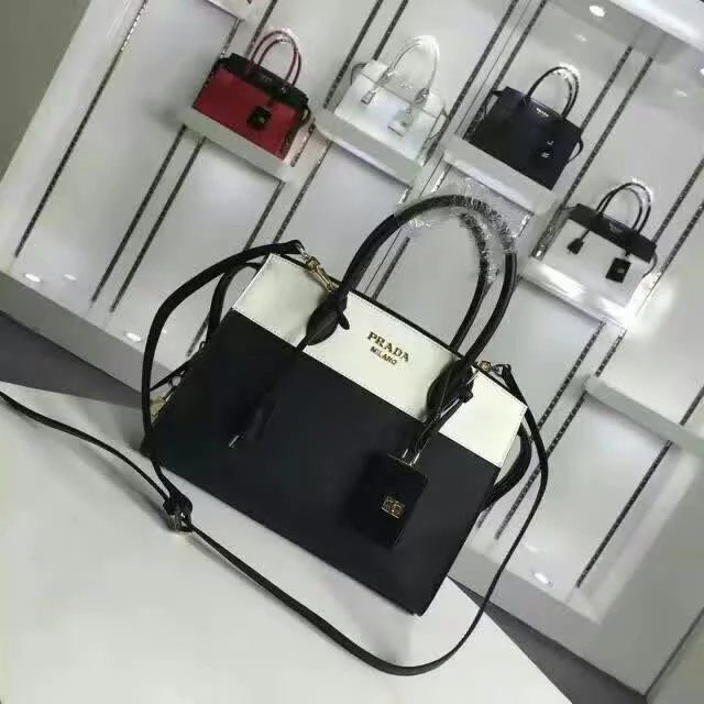 2016 A/W Prada Esplanade Medium Saffiano & Calf Leather Tote in Black/White