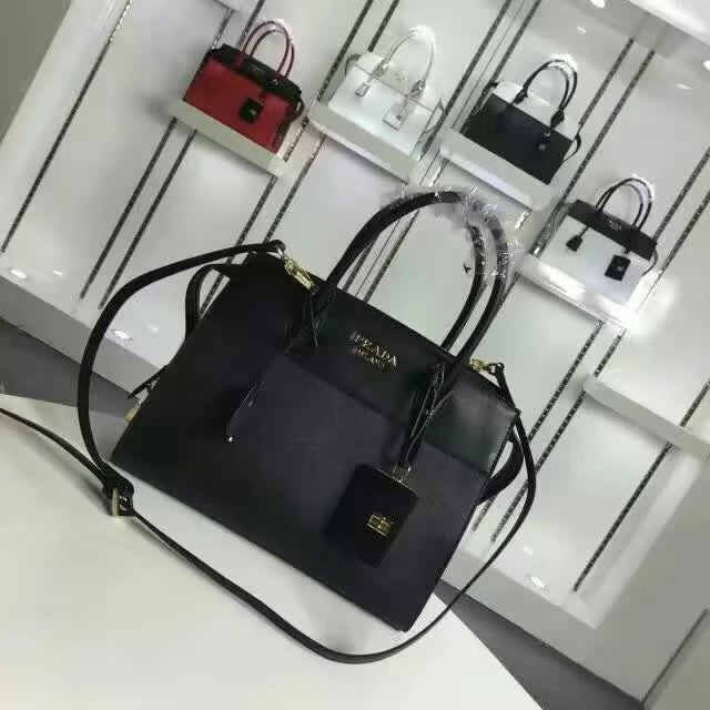 2016 A/W Prada Esplanade Medium Saffiano & Calf Leather Tote in Black