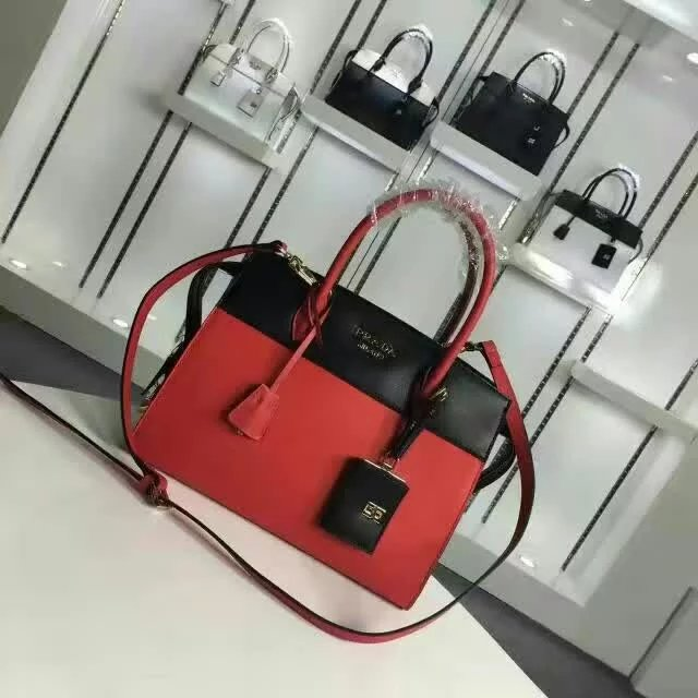 2016 A/W Prada Esplanade Medium Saffiano & Calf Leather Tote in Red/Black
