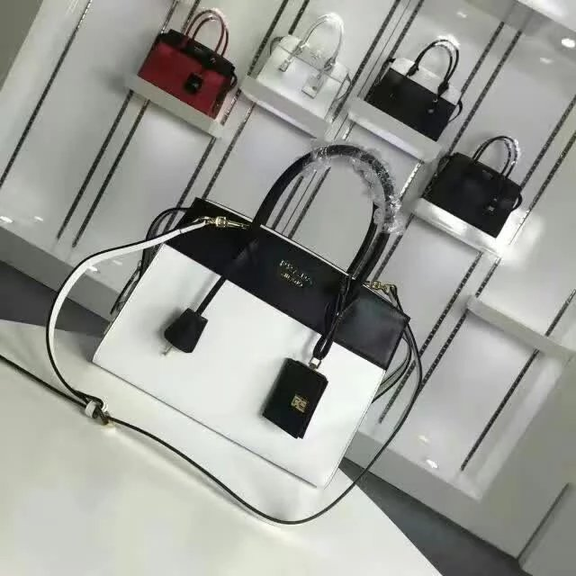 2016 A/W Prada Esplanade Medium Saffiano & Calf Leather Tote in White/Black