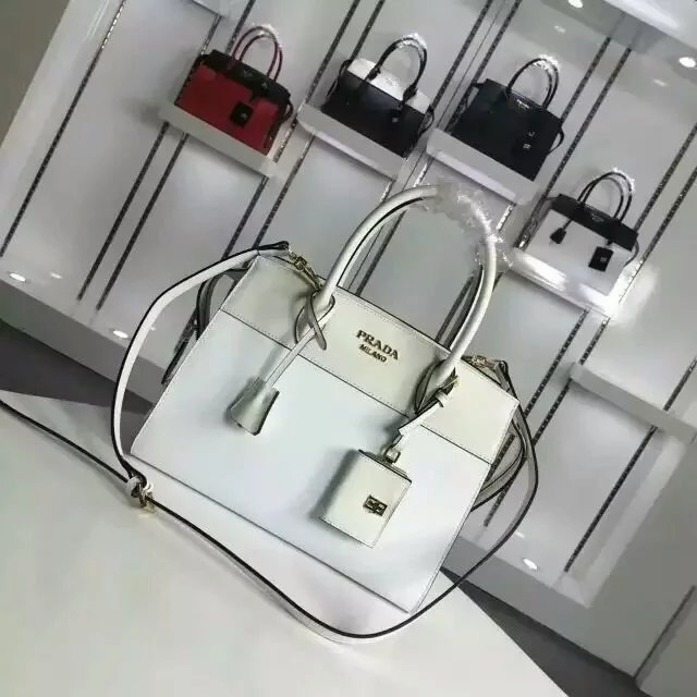 2016 A/W Prada Esplanade Medium Saffiano & Calf Leather Tote in White