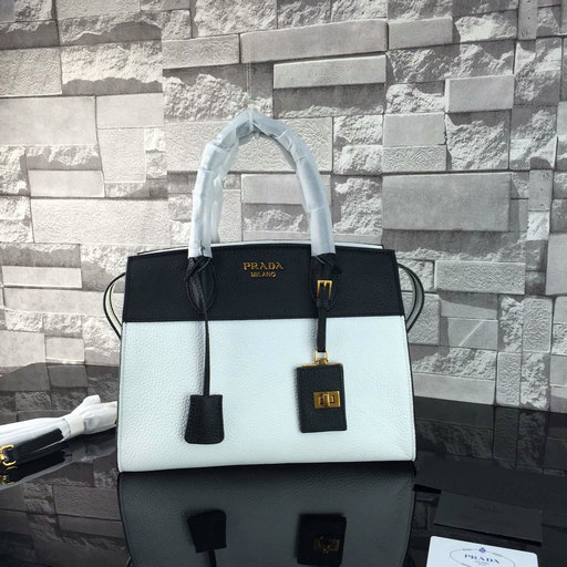 2016 A/W Prada Esplanade Soft Calf Leather Tote Bag in Black/White