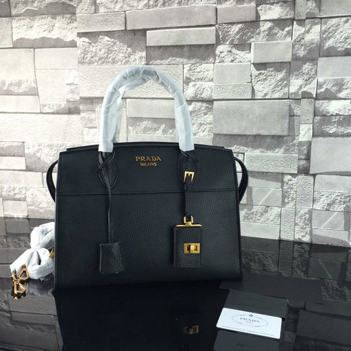 2016 A/W Prada Esplanade Soft Calf Leather Tote Bag in Black