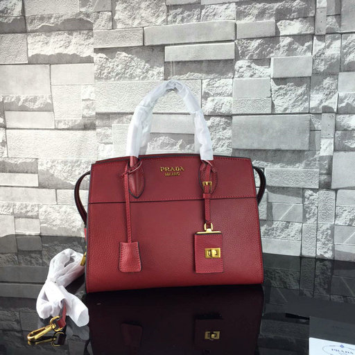 2016 A/W Prada Esplanade Soft Calf Leather Tote Bag in Burgundy