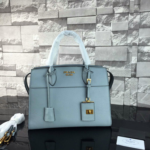 2016 A/W Prada Esplanade Soft Calf Leather Tote Bag in Ice Blue