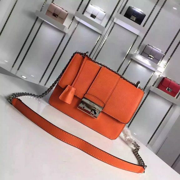 2016 Autumn/Winter Prada Flap Shoulder Bag 1BD080 in Orange