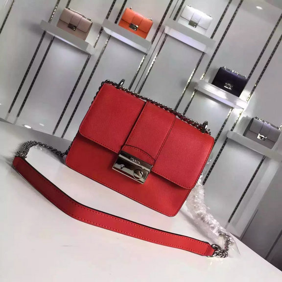 2016 Autumn/Winter Prada Flap Shoulder Bag 1BD080 in Red