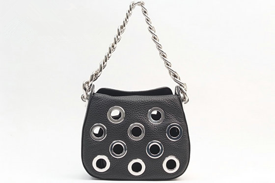 2016 Spring Prada Grommets Calf Leather Bag 1BA027 in Black