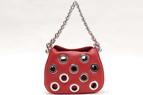 2016 Spring Prada Grommets Calf Leather Bag 1BA027 in Red