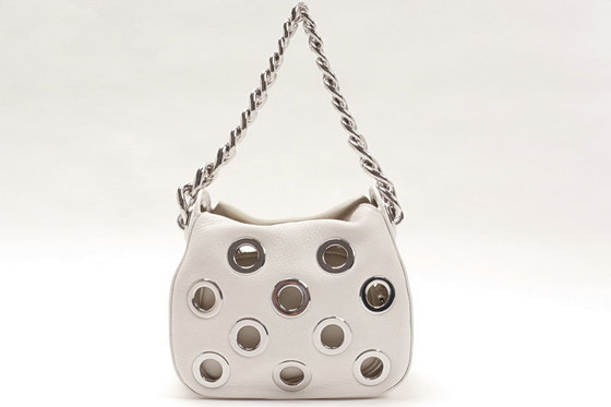 2016 Spring Prada Grommets Calf Leather Bag 1BA027 in White