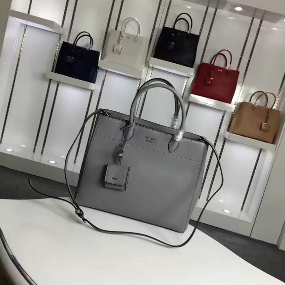 2016 Autumn/Winter Prada Calf Leather Tote Bag in Grey