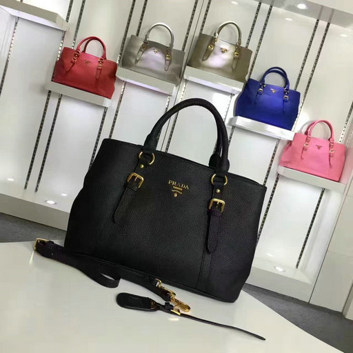 2016 Cheap Prada Grainy Calf Leather Tote BN2527 in Black