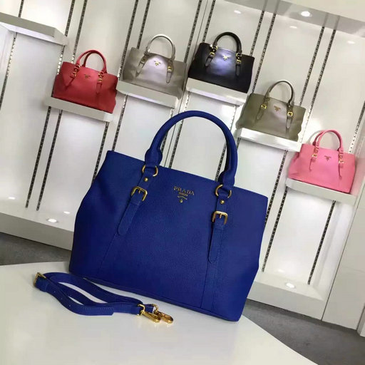 2016 Cheap Prada Grainy Calf Leather Tote BN2527 in Blue