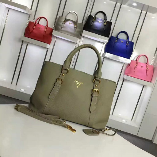 2016 Cheap Prada Grainy Calf Leather Tote BN2527 in Green