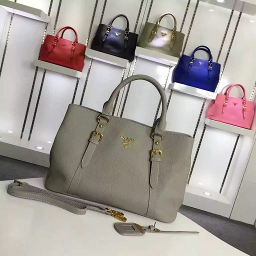 2016 Cheap Prada Grainy Calf Leather Tote BN2527 in Grey